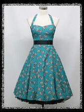 dress190 Blau Bogen Muster Neckholder 50s Rockabilly Abschlussball Kleid 44-46