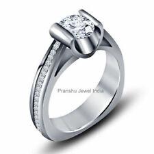925 Sterling Silver Euro Shank Ring 1.50Ct Near White Moissanite Engagement Ring