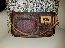 Authentic LOUIS VUITTON Monogram Pink Perforated Pochette Accessories Handbag