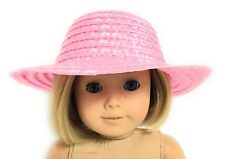 Pink Straw Hat Accessories fits 18 inch American Girl Doll Clothes