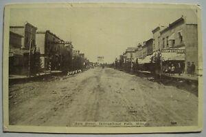 International Falls MN Main Street Old 1910 Postcard; Rare Ericsburg Postmark