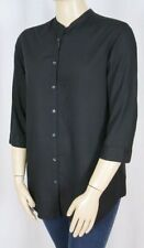 Viscose 3/4 Sleeve Regular Size Button Down Shirts for Women