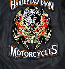 HARLEY 12 INCH TOP BOTTOM ROCKER SKULL BLADE WOLF 3PC BACK PATCH