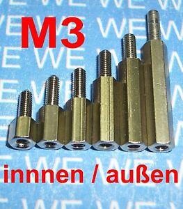 M6 SW10 10mm M6x10 Edelstahl Abstandsbolzen Distanzhalter Innen-Außen A2 1.4305