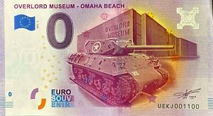 BILLET 0  EURO OVERLORD MUSEUM 2 OMAHA  BEACH FRANCE 2017 NUMERO 1100