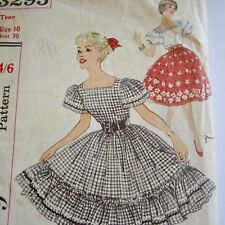 """Size 10 Vintage 1950s Sewing Pattern Simplicity 3295 Teen Blouse Skirt B30"""""""