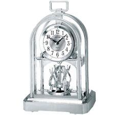 NEU Rhythm Tischuhr Pendel silber Schreibtisch Uhr Kamin modern Regaluhr
