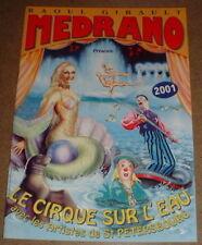 PROGRAMME CIRQUE/CIRCUS PROGRAM 2001 CIRQUE SUR L'EAU MEDRANO   SIRENE OTARIE