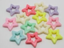 30 Mixed Pastel Color Acrylic Hollow Star Beads 27mm Jewelry Making