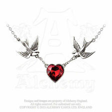 NEW Alchemy Gothic SWALLOW HEART PENDANT Necklace UL17 Sign Del. ULFP1