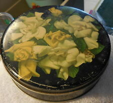 """Vintage White,Yellow Rose Metal Tin can Old Reliable Coffee and Tea 6 1/4"""""""