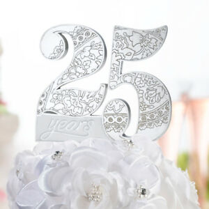 25th or 50th Wedding Anniversary Resin Cake Topper Cake Pick