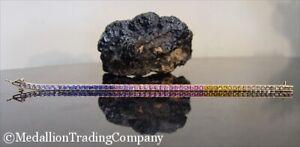 14k Rainbow Color Channel Set Sapphire Line Tennis Bracelet 12.8 grams 7 inch