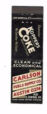 MATCHBOOK COVER Carlson Fuel & Supply Austin  Koppers Coke Chicago