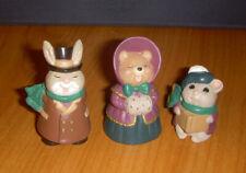 Hallmark Merry Miniature Bunny Bear Mouse Brown & Green Carolers Lot of 3