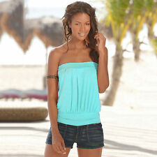 Women's Sleeveless Strapless Tube Vest Blouse T-shirts Bandeau Stretch Tank Tops