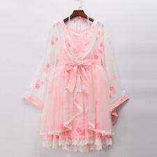 Vintage Fantasy Girls Japan Style Halter Neck Pink Kimono Sleeve Lolita Dress