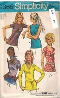 9365 UNCUT Vintage Simplicity Sewing Pattern Misses Set of Blouses Knit OOP SEW
