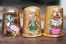 More details for 3 rare beatrix potter thimbles gold plated enamel jemima puddleduck peter rabbit