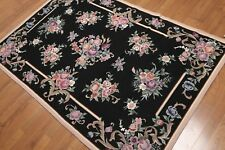 4' x 6' Hand Woven French Aubusson Needlepoint wool Oriental area rug 4x6 Black