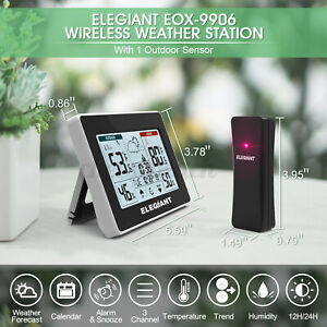 Wireless Indoor Outdoor Weather Station Digital Thermometer Temperature Clock