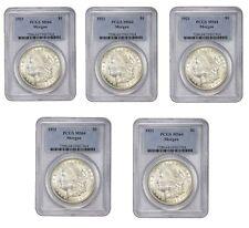 1921 Morgan Silver Dollar PCGS MS64 Lot of 5