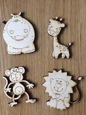 Pack of four Lasercut Wooden Baby Zoo Animal Shapes, Crafts