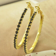 Fashion vintage 9k Gold Plated Black topaz Womens Big circle Hoop Earrings