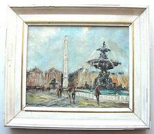 """ANTIQUE OIL ON CANVAS PAINTING """"Paris, Place de la Concorde"""" SIGNED, FRAME"""