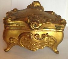 Antiwue Signed B&W #174 Gold Gild  Metal Jewelry Box Vanity Box FLORAL
