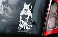 Bull Terrier on Board - Car Window Sticker - English Bully Dog Sign Decal - V07