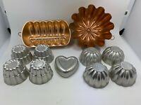 Lot 11 Vintage Aluminum & Copper Baking Molds Mini Cake Jello Mold Loaf Heart