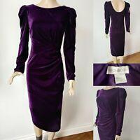 MONSOON Women Dress Size 12 Purple Velvet Wiggle Party Evening Cruise Occasion