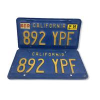 Vtg Pair California 1970's Blue Yellow License Plates Set 892 YPF