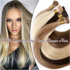 I Tip Stick Russian Remy Human Hair Extensions Beads Micro Ring Pre bonded Blond