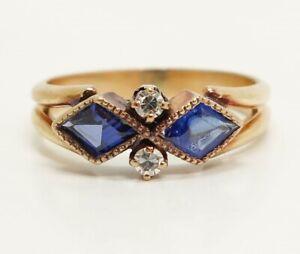 Charming Antique Art Deco Early 20c 14K Gold Sapphire Diamond Ladies Ring 4.75