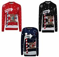 Mens Unisex To The Pub Reindeer Novelty Xmas Christmas Jumper Womens Sweater Lot