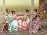 Oil painting Vittorio Reggianini - La Soiree beauties young girls party in roomA