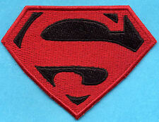 "3"" x 4"" Small Embroidered Red & Black Superman / Superboy 'S' Logo Iron-On Patch"