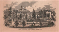 BARRE, MASSACHUSETTS, INSTITUTION FOR IDIOTS & IMBECILES, antique engraving 1857