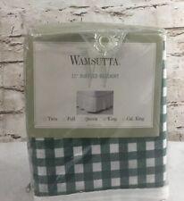 Wamsutta King Size Bed Skirt Green/White Plaid