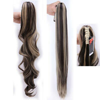 Long Claw Clip on Ponytail Clip in Pony tail Hair Extensions Black Brown Mix TE5