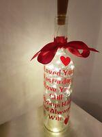 Light Up Wine Bottle - Valentines - Anniversary - Husband Wife Girlfriends Gift.