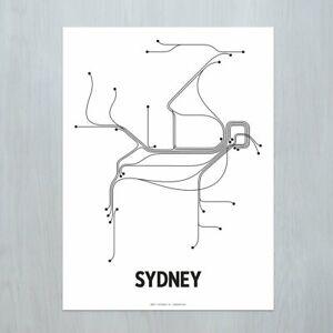 Minimal SYDNEY CITY LINE POSTER - PRINT / ART - Black + White (18 x 24)
