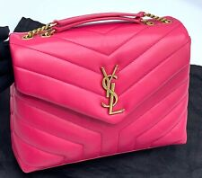 YVES SAINT LAURENT Fresh Fuxia Calfskin Quilted Matelasse LouLou Small Flap Bag