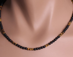 STORCH SCHMUCK Herrenkette Collier Halskette Perlen ONYX schw. TIGERAUGE Germany