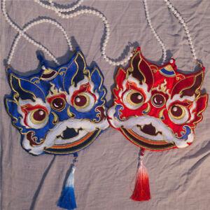 Vintage Chinese Embroidery Lion Shoulder Bag Tassel Hanfu Cosplay Handbag Gift
