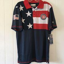 True Fan MLB Men's Medium Chicago Cubs Polo Shirt Genuine Flag Red Blue NEW