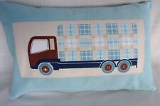 Laura Ashley blue brown cream Tractors Trucks Cushion Covers 12x18'' cotton BN