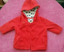 3-6 months girl red next winter coat jacket with hoodie vgc